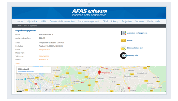 CRM software van AFAS met ERP Software geintegreerd mob